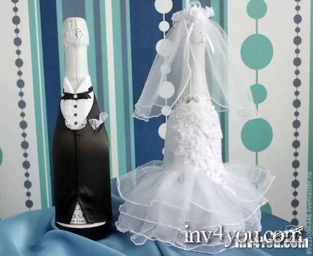 Украшение бутылок свадебный своими рукам из лент