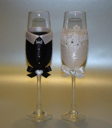 Свадебные бокалы своим руками фото