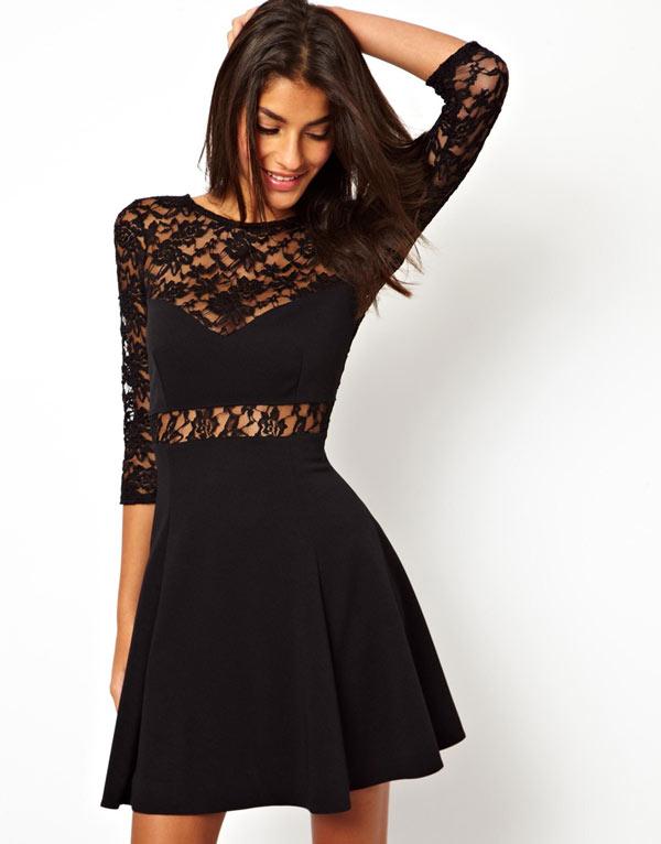 Черное платье вставки кружево
