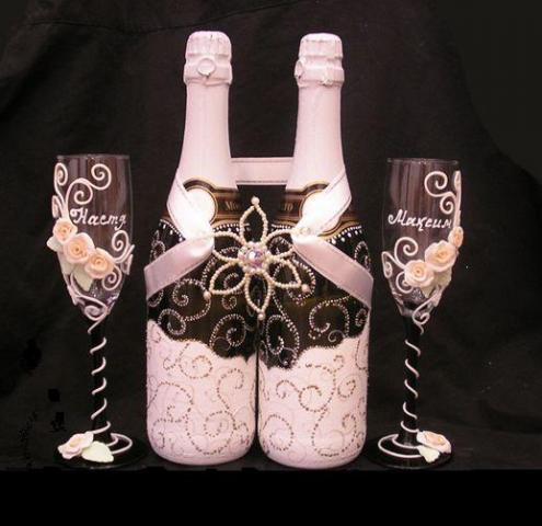 Украшения шампанского на свадьбу своими руками